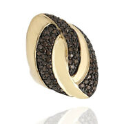 1.44ctw Chocolate Diamond Oval Dome Ring In 14k Yellow Gold