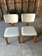 2 Thonet Mid Century Bentwood Wood Side Chairs White Vinyl