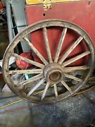 Set Of Four 4 Steel Frame And Wooden Wagon Wheels, Turn Of The Century