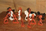 Lot Toy Horses Hard Plastic Marbled Marx Vtg Mustangs Cowboy Indian