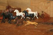 Lot Of Toy Horses Hard Plastic Marx Figure With Fence