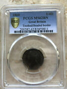 1860 Great Britain 1/4 P Toothed Obv - Beaded Rev Pcgs Mechanical Grade Error