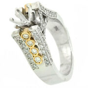 14k Vintage Style Semi-mount Diamond Ring Setting 1.12 Cts Si1/g-two Tone Gold