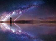 Landscapes Jigsaw Puzzle 500 Pieces Beautiful Lighthouse Under Milky Way Night