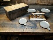 Antique Pelouze Laboratory Scale W Original Box And All The Weights And R/l Dish