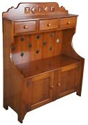 Franklin Shockey Burnished Pine Early American Bucket Bench Dry Sink Cabinet