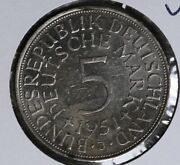 Nice Uncirculated 1951 German 5 Mark Silver Coins