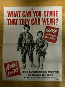 What Can You Spare That They Can Wear - Ww2 Poster - Original Wwii