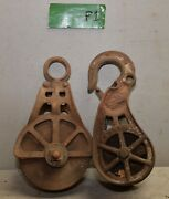 2 Antique Barn Pulley Collectible Farm Tool Hay Trolley Part Industrial Lot P1