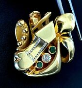 14k Solid Yellow Gold Carved Turtle Heart Arrow Natural Diamond Emerald Pendant