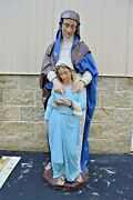 + Nice Old Plaster Statue Of St. Anne With Child Mary 61 Ht Cu534 Chalice Co