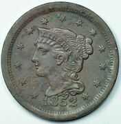 1852 1c Braided Hair Large One Cent About Uncirculated Details Au