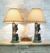 Pack Of 2 Rustic Black Bear Cubs Climbing Tree Ladder Table Lamp With Shade