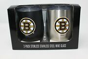 New Memory Company Boston Bruins Nhl 2 Pack Stainless Steel Wine Glass W/ Lid.