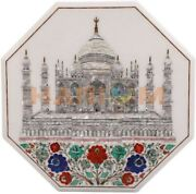 24 White Marble Top Coffee Table Gems Floral Tajmahal Inlay With 18 Stand W479