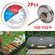 2pcs Temperature Thermometer Gauge Barbecue Bbq Grill Smoker Pit Thermostat Tool