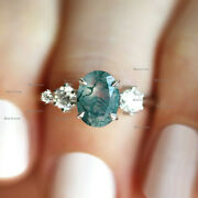 Oval Moss Agate Gemstone And Diamond Engagement Ring 14k White Gold Fine Jewelry