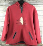 Disney Store Size Xl Winnie The Pooh Red Fleece Zip Up Hoodie Embroidered Pocket
