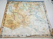 1853 Antique Wall Map Of The United States And Mexico, Rare Hand Colored