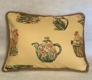 French Country Cottage Pillow Plaid Check Green Yellow Red Farm House Hen