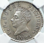 1828 Haiti 2nd President Jean-pierre Boyer Silver Antique Coin Ngc Ms I86188