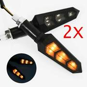 2x Motorcycle Led Arrow Head Turn Signals Amber Lights For Cafe Racer Bobber