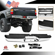 Complete Rear Step Bumper Chrome And Black For 95-04 Toyota Tacoma Pickup Truck