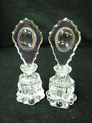 Set Of Vintage Clear Decorative Glass French Perfume Bottles W/ Stoppers