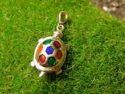 Arr 14k Gold Turtle Stained Glass Mosaic Enamel Pendant Charm