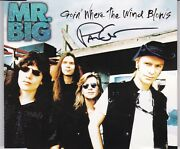 Mr Big Goin Where The Wind Bolws Signed Cd Single Paul Gilbert Rare Autographed
