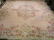 Vintage Chinese Art Deco Rug , Peach And Ivory , 9x12