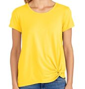 Fresh Produce Large Punchy Mango Noa 49.00 Stretchy Knit Knot Tee Top Nwt New L
