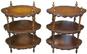 2 Theodore Alexander 3 Tier Leather Turtle Top And Nailhead Accent Side End Tables