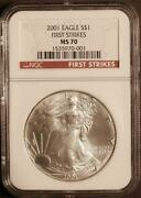 2001 1 1 Oz. Mint State American Silver Eagle Ngc Ms 70 First Strikes Pop 16