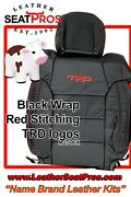 Alea Leather Seat Covers 14-21 Toyota Tundra Crewmax Double Cab Black Red Logo