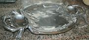 Large Heavy Metal Crab Plate 21 X 12.5 Pewter Shiny Serving Platter Lobster