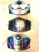Skeleton Scull Fun Face Mask Lot Of 3 With 2 Replaceable Filters Washables