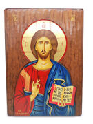 Jesus Hand Painted Icon Made In Greece Christian Orthodox Wood Wall Religion