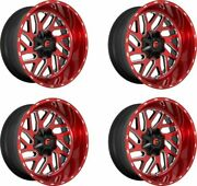 Set 4 20x10 Fuel D691 Triton Candy Red Milled 8x170 Wheels -18mm Rims W/ Lugs