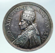 1902 Vatican Pope Leo Xiii With Saint Peter 25yr Antique Christian Medal I86415