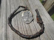 Sterling 1947 Rotc Medallion-watch Fob-monogrammed On Back-leather Fob