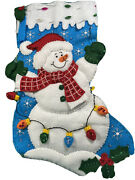Bucilla Felt Christmas Stocking Kits 18inch Finished Completed Snowman W/lights