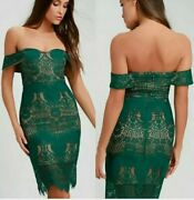 Nwt Ryse The Label Green Off-shoulder Lace Bodycon Cocktail Dress Womens Medium