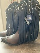Women Cowgirl Cowboy Boots-rockin Country-fringe Studded-brown Black-size 10-nwt
