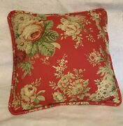 French Country Cottage Floral Garden Red Ivory Green Pillow Farm House