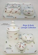 French Limoge Bugs And Buds Tray Apothecary Jar Jewelry Heart Egg Trinket Box