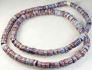 Antique Vintage Old Estate Striped Chevron African Trade Beads Strand Necklace
