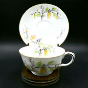 Crown Staffordshire Pussy Willow Tea Cup Saucer Wide White Porcelain England Vtg
