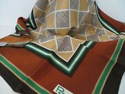 Neck Scarf Paoli Japan Brown Rust Green And Tan Geometric Vintage New W Tag