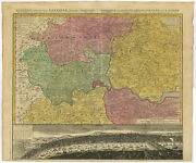 Antique Map-london-england-view-thames-westminster-homann Heirs-1741